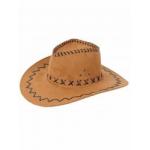 Bruine lederlook cowboy hoeden