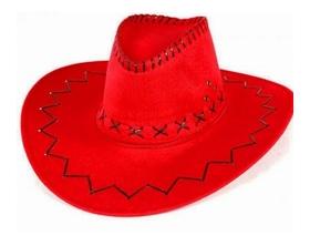Rode lederlook cowboy hoeden